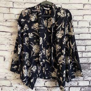 Lush Flowing Navy Floral Cardi Blazer